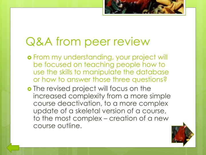 Q&A from peer review