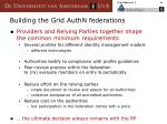 building the grid authn federations