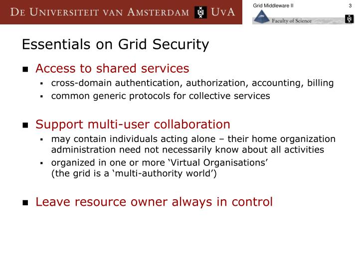 Essentials on grid security