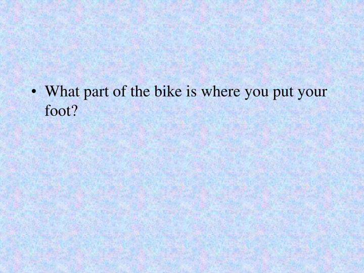 What part of the bike is where you put your foot?