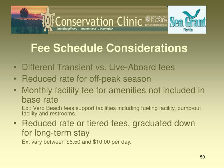 Fee Schedule Considerations