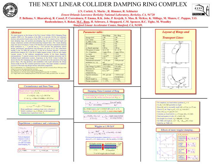 THE NEXT LINEAR COLLIDER DAMPING RING COMPLEX