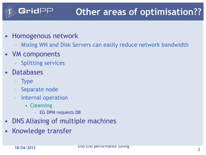 Other areas of optimisation