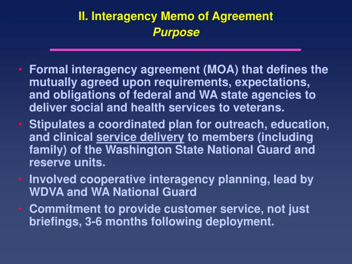 II. Interagency Memo of Agreement