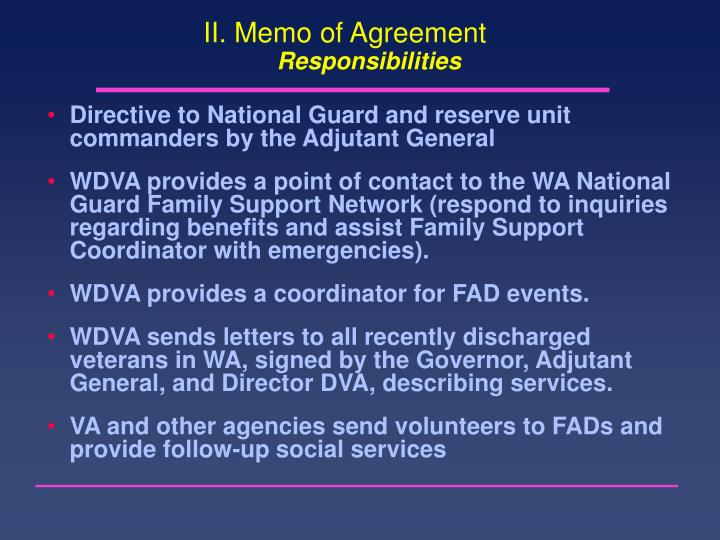 II. Memo of Agreement
