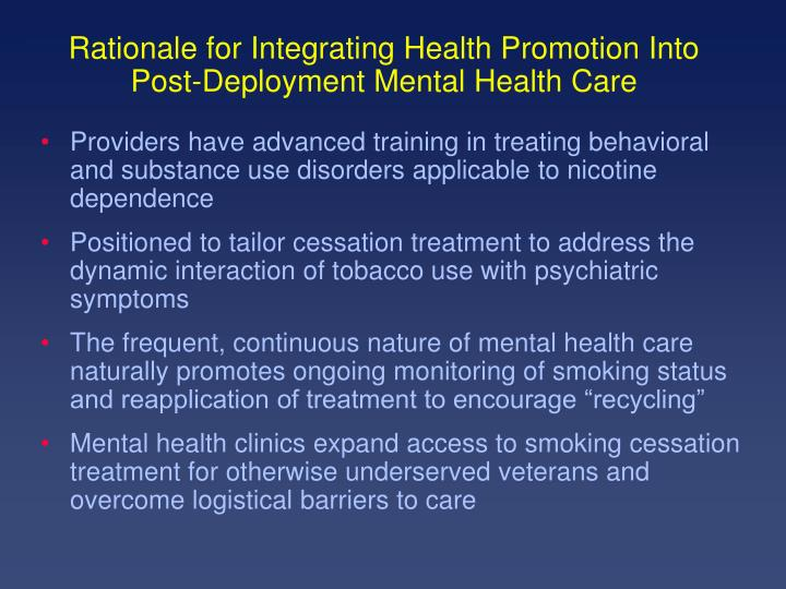 Rationale for Integrating Health Promotion Into Post-Deployment Mental Health Care