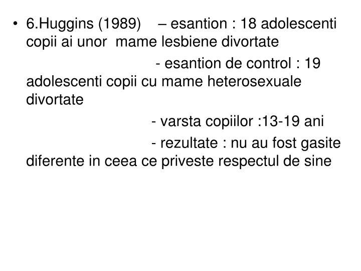 6.Huggins (1989)    – esantion : 18 adolescenti copii ai unor  mame lesbiene divortate