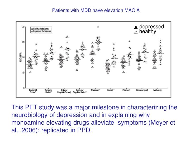 Patients with MDD have elevation MAO A