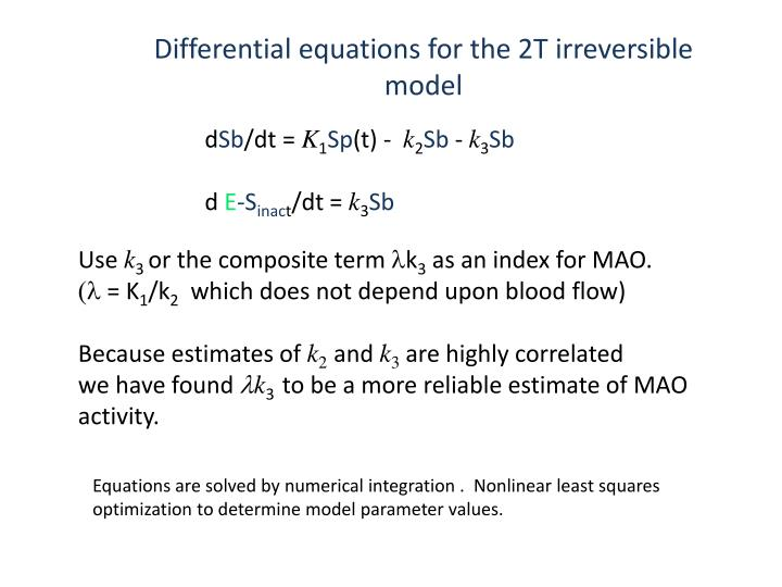 Differential equations for the 2T irreversible model