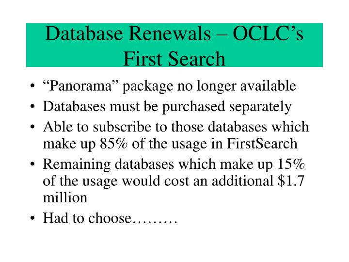 Database Renewals – OCLC's First Search