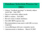 database selection process for 2003