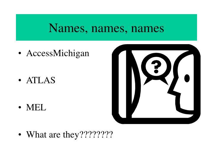 Names, names, names