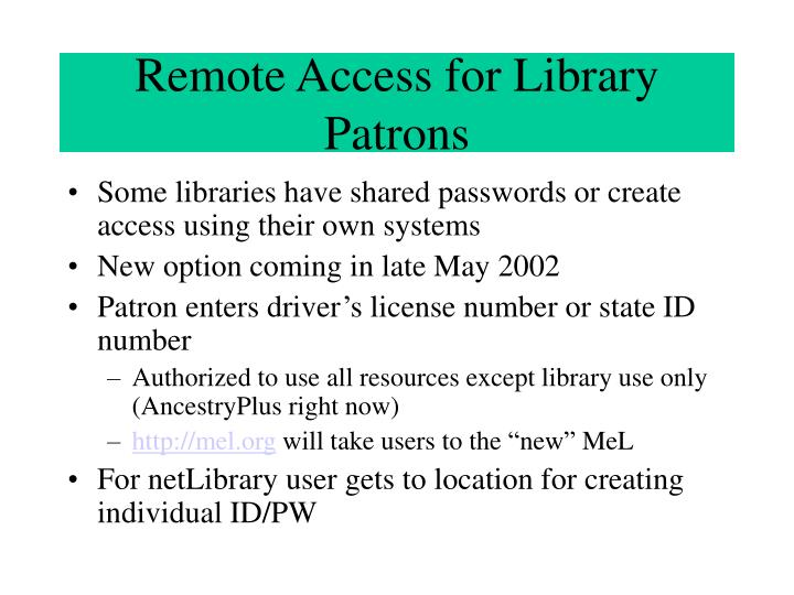 Remote Access for Library Patrons
