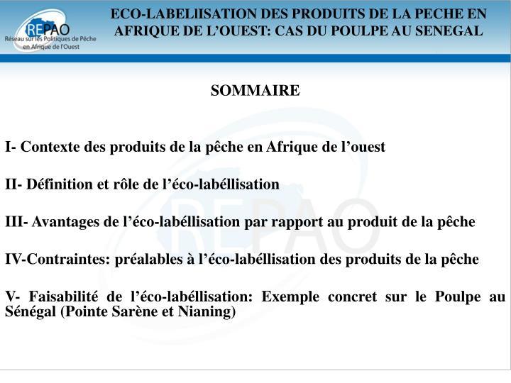 ECO-LABELlISATION DES PRODUITS DE LA PECHE EN AFRIQUE DE L'OUEST: CAS DU POULPE AU SENEGAL