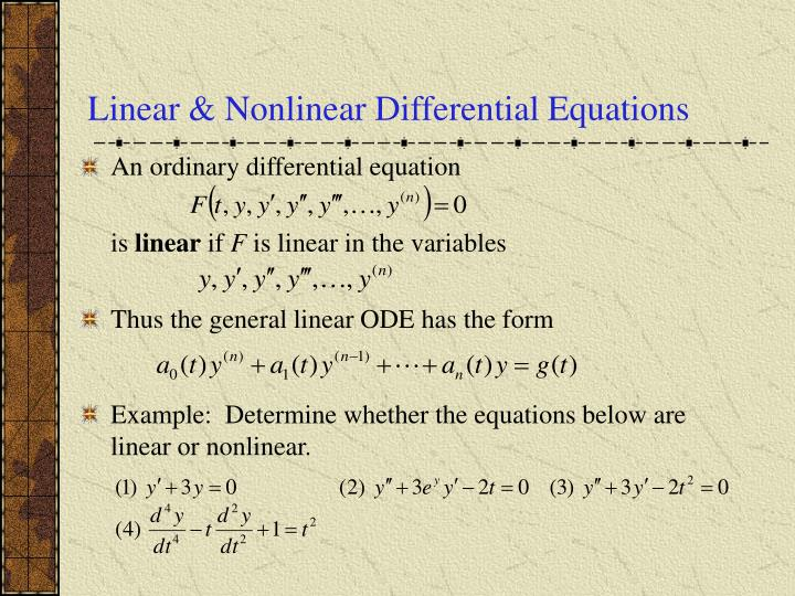 Linear & Nonlinear Differential Equations