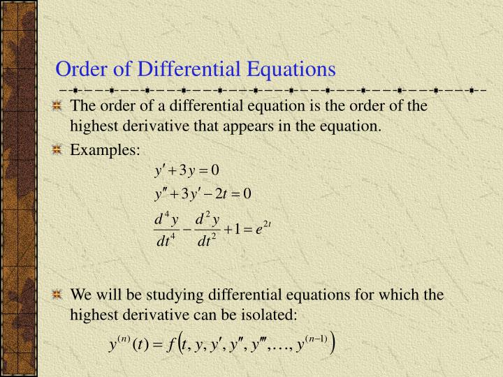 Order of Differential Equations