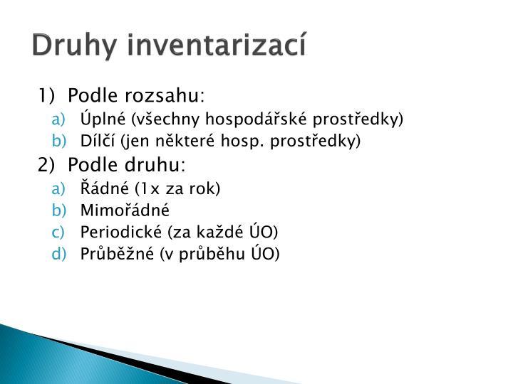 Druhy inventarizací