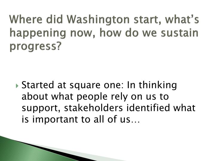 Where did Washington start, what's happening now, how do we sustain progress?