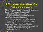 a cognitive view of morality kohlberg s theory