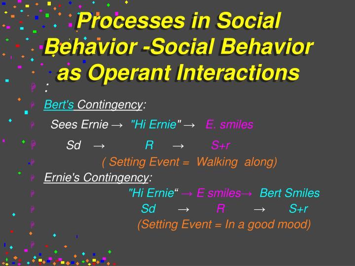 Processes in Social Behavior -Social Behavior as Operant Interactions