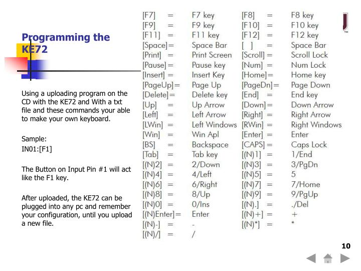 Programming the KE72