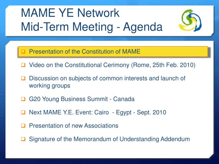 Mame ye network mid term meeting agenda