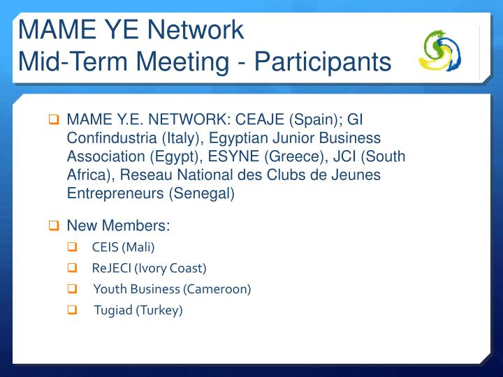 Mame ye network mid term meeting participants