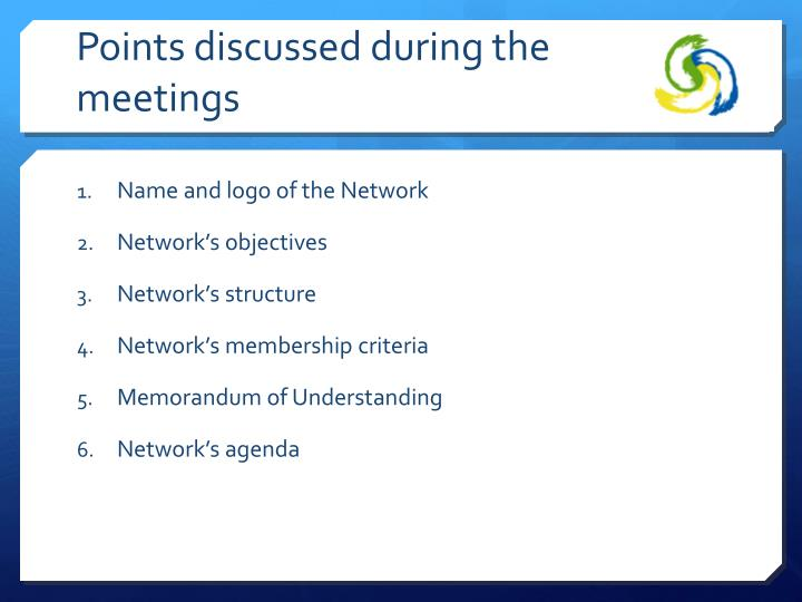Points discussed during the