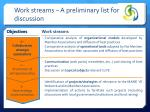 work streams a preliminary list for discussion