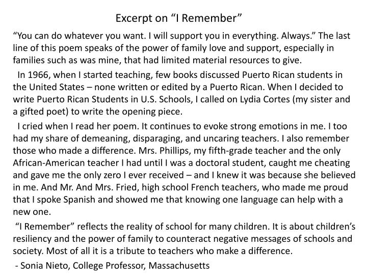 """Excerpt on """"I Remember"""""""
