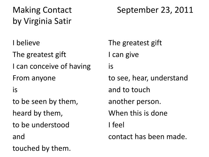 Making Contact September 23, 2011