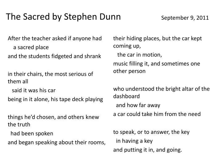 The Sacred by Stephen Dunn