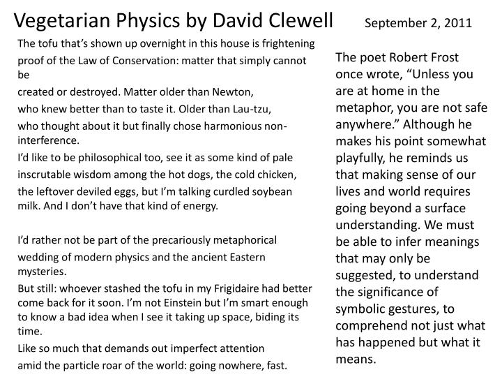 Vegetarian Physics by David Clewell