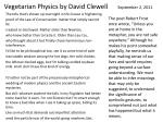 vegetarian physics by david clewell september 2 2011