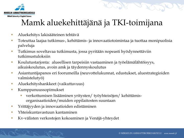 Mamk aluekehittäjänä ja TKI-toimijana
