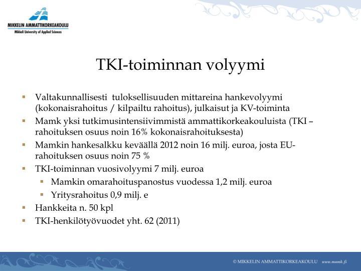 TKI-toiminnan volyymi