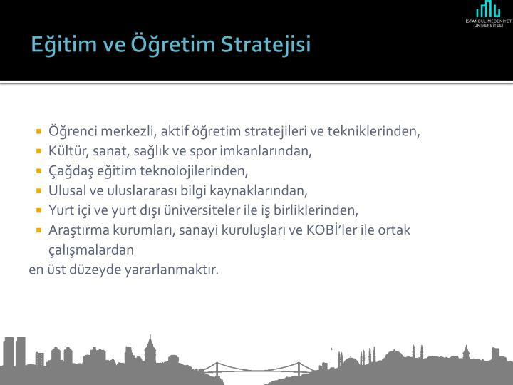 Eğitim ve Öğretim Stratejisi