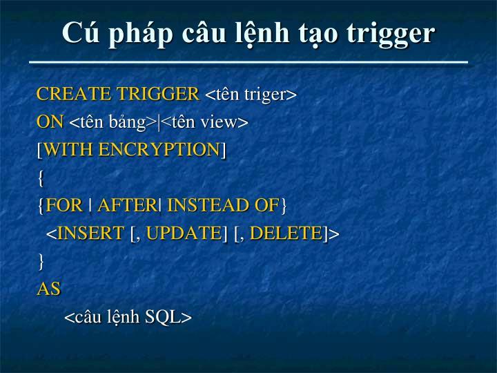 Cú pháp câu lệnh tạo trigger
