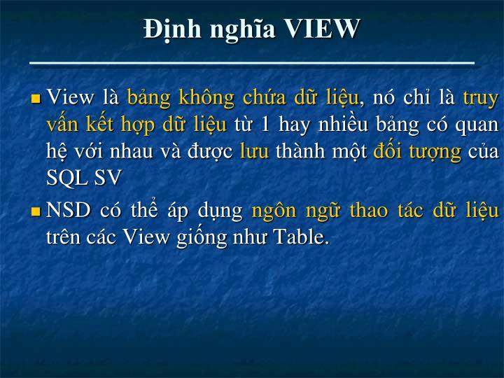 Định nghĩa VIEW