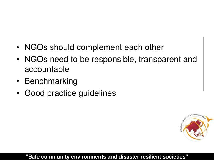 NGOs should complement each other