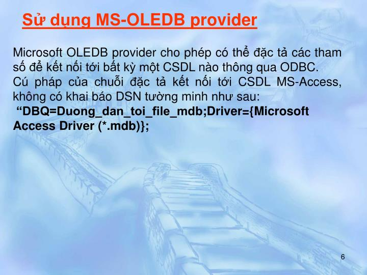 Sử dụng MS-OLEDB provider