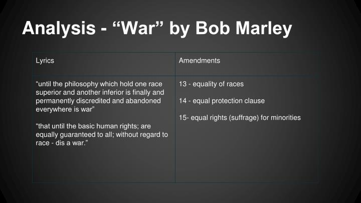 "Analysis - ""War"" by Bob Marley"