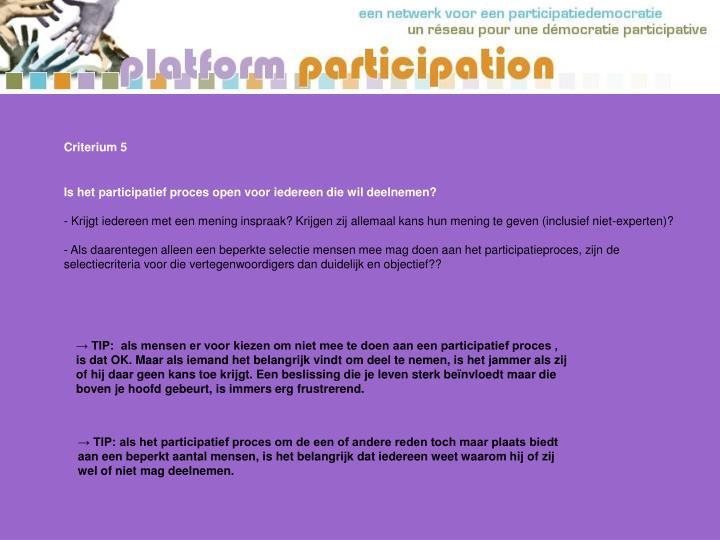 Criterium 5