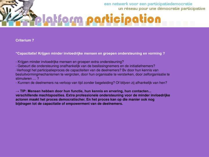 Criterium 7