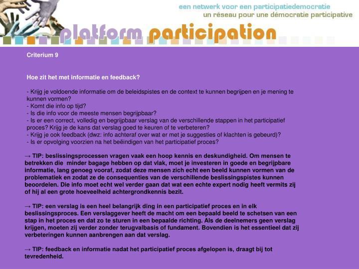 Criterium 9