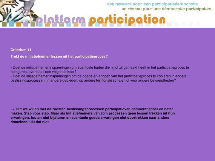 Criterium 11