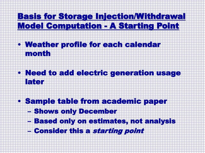 Basis for Storage Injection/Withdrawal Model Computation - A Starting Point