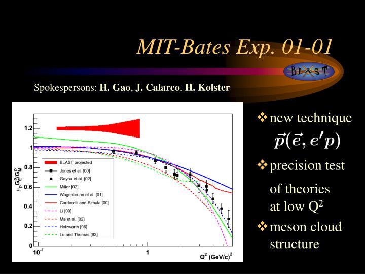 MIT-Bates Exp. 01-01