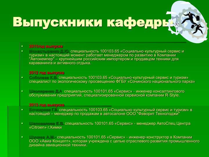 Выпускники кафедры: