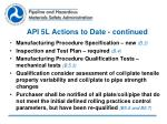 api 5l actions to date continued